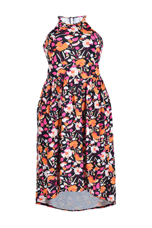 Lovely Bohemian Printed Black Cotton Knee Length A Line Plus Size Dress