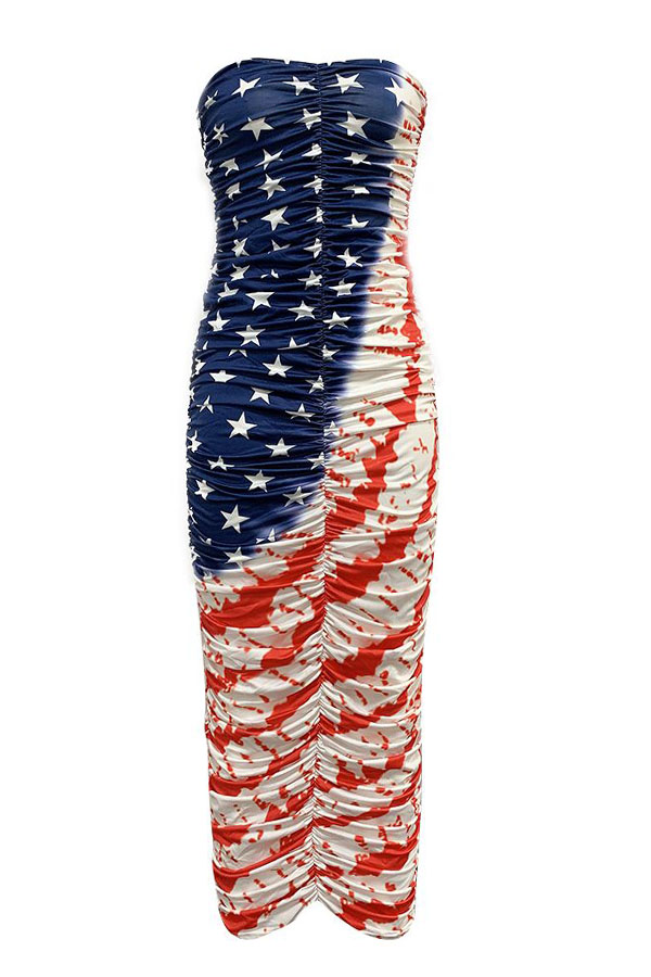 Lovely Independence Day Casual Off The Shoulder Printed Multicolor Ankle Length A Line Dress