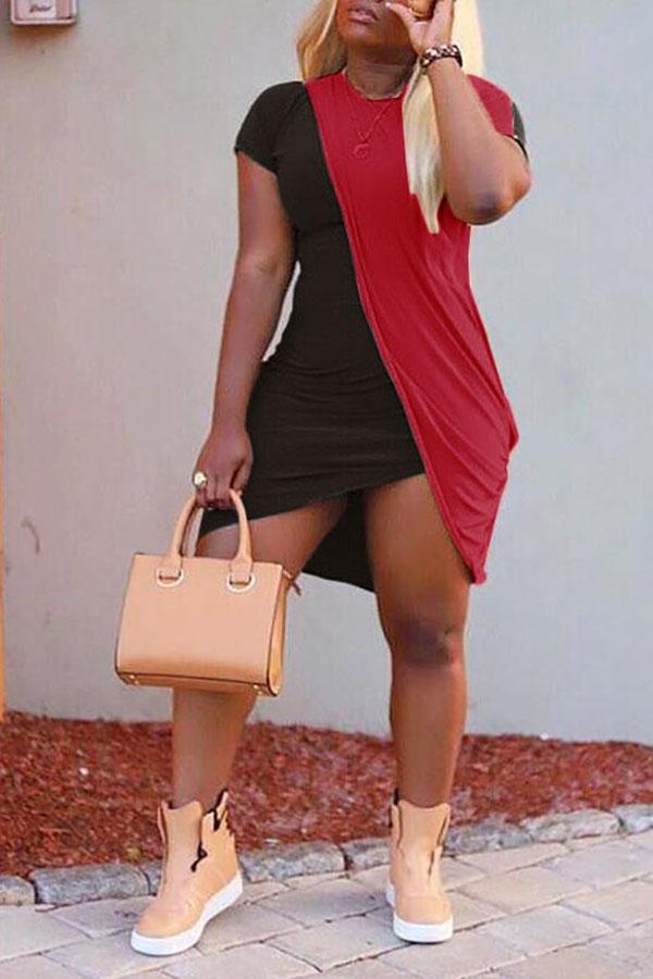 Lovely Casual O Neck Patchwork Black Asymmetrical Mini Dress