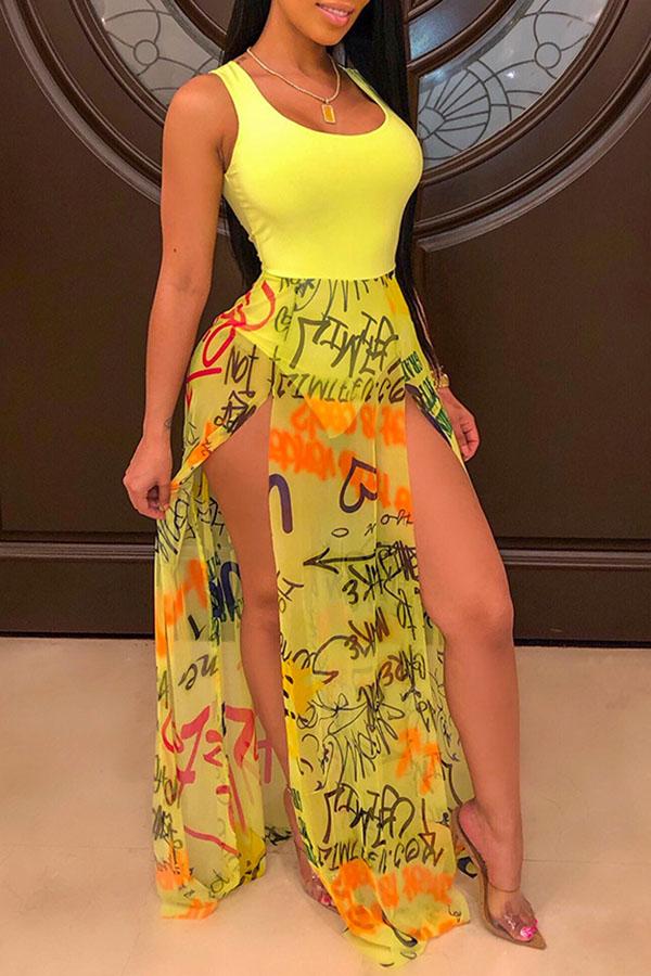 Lovely Sexy Tank Sleeveless Side Slit Yellow Floor Length Dress