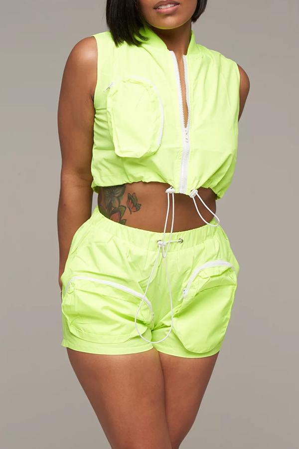 Lovely Casual O Neck Zipper Design Green Two-piece Shorts Set