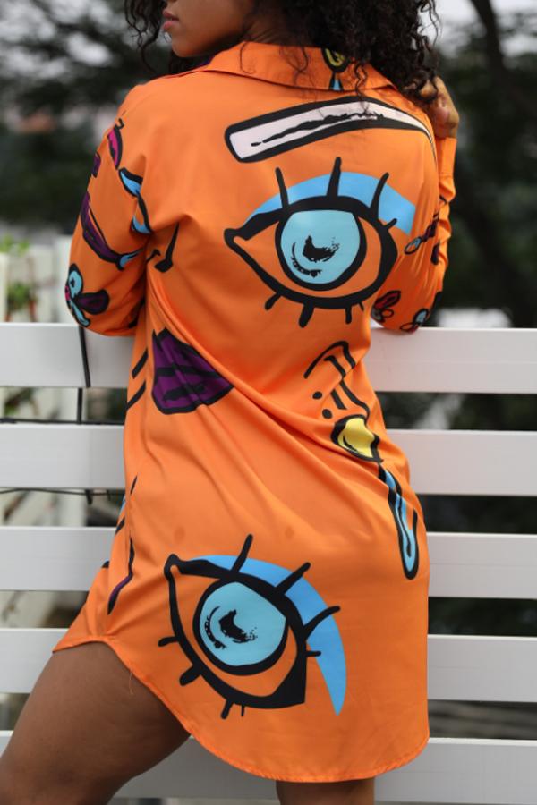 Lovely Casual Eyes Printed Croci Mini Shirt Dress(Nonelastic)