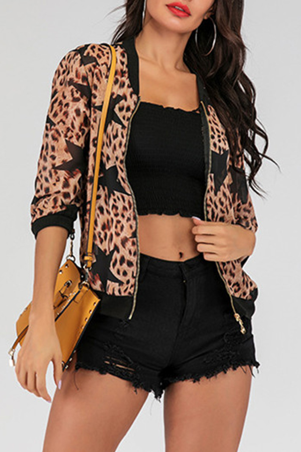 Lovely Casual Leopard Printed Zipper Design Jacket