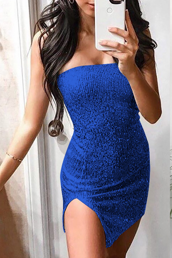 Lovely Stylish Off The Shoulder Side Split Blue Mini Prom Dress
