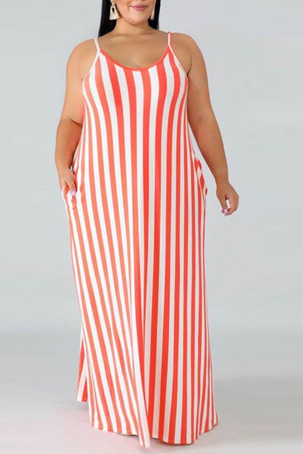 Lovely Casual V Neck Striped Red Floor Length Plus Size Dress