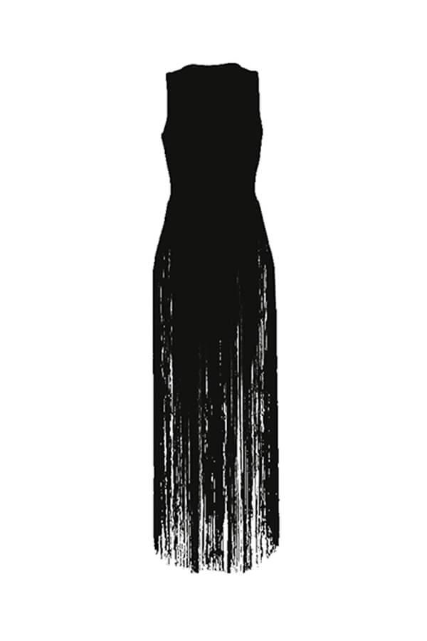 LW BASIC Chic Tassel Design Black Blouse
