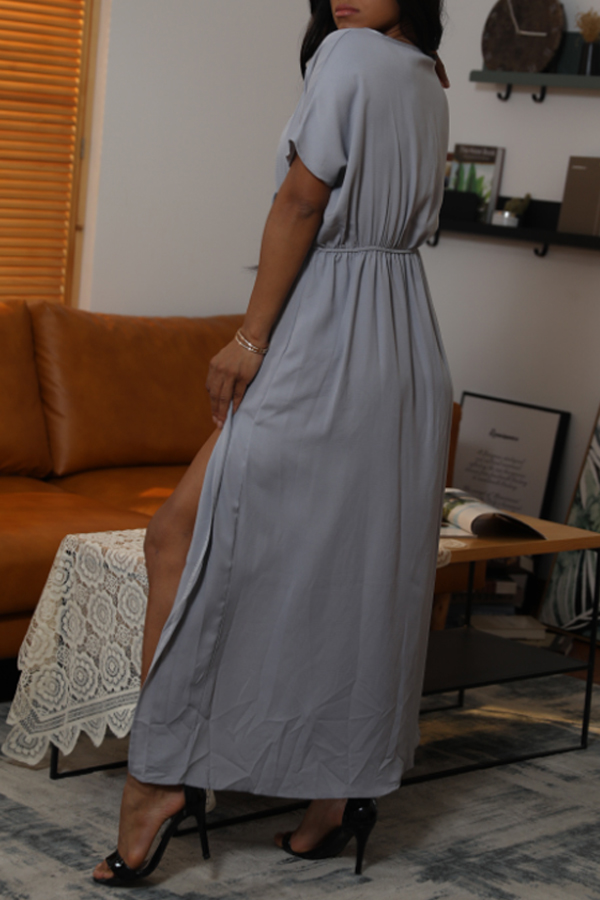 Lovely Casual V Neck Side Split Grey Ankle Length Dress