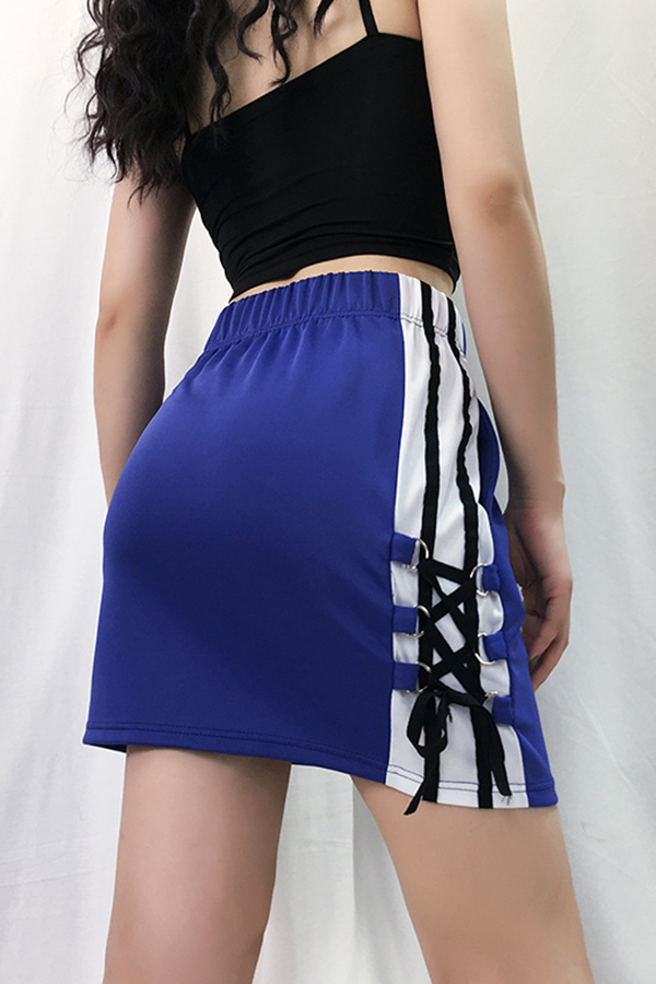 Lovely Casual Patchwork Blue Mini A Line Skirt