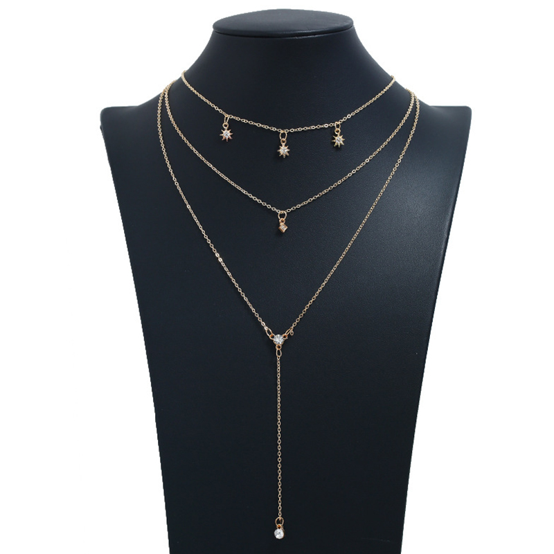 Lovely Stylish Multi-layer Hollow-out Gold Alloy Necklace