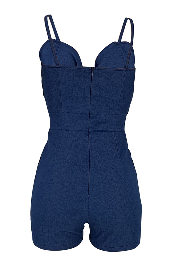 Lovely Sexy Spaghetti Straps Hollow-out Dark Blue Denim One-piece Romper