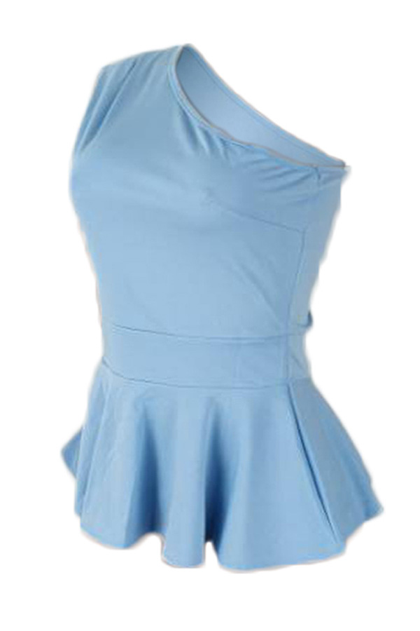 Lovely Stylish One Shoulder Ruffle Baby Blue Blouse