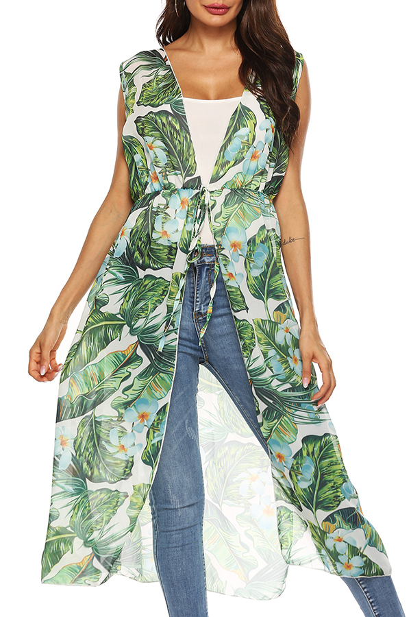 Lovely Casual Printed Lace-up Green Chiffon Waistcoats