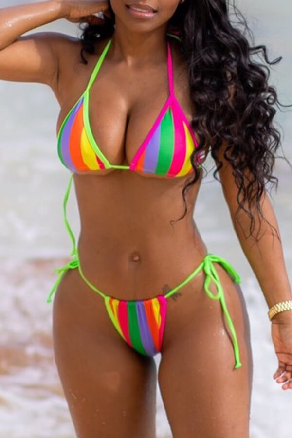 Lovely Halter Neck Striped Multicolor Two-piece Swimsuit