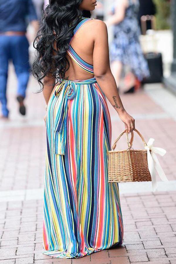 Lovely Casual V Neck Striped Backless Baby Blue Floor Length Printed Dress