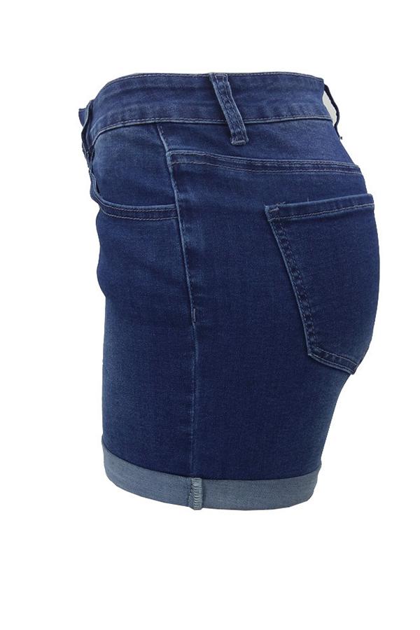 Lovely Casual Mid Waist Deep Blue Denim Shorts