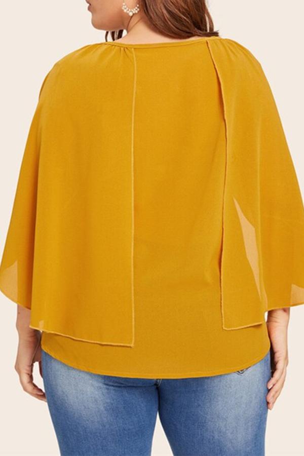 Lovely Stylish O Neck Yellow Plus Size Blouse