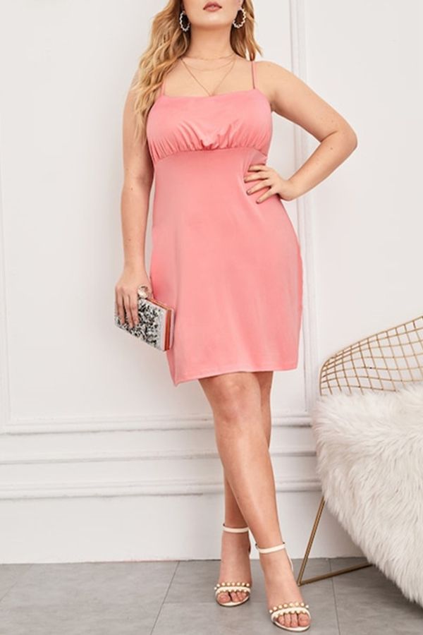 Lovely Casual Spaghetti Straps Pink Knee Length Plus Size Dress
