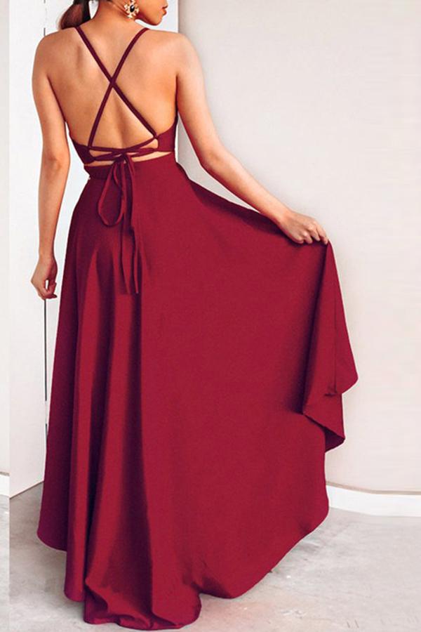 Lovely Casual Asymmetrical Wine Red Floor Length Prom Dress