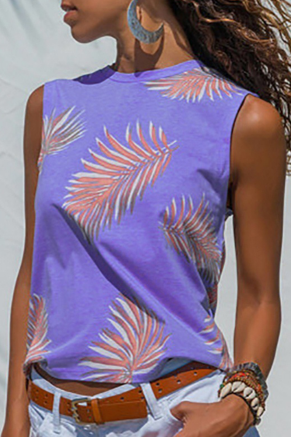 Lovely Casual Printed Purple Tank Top