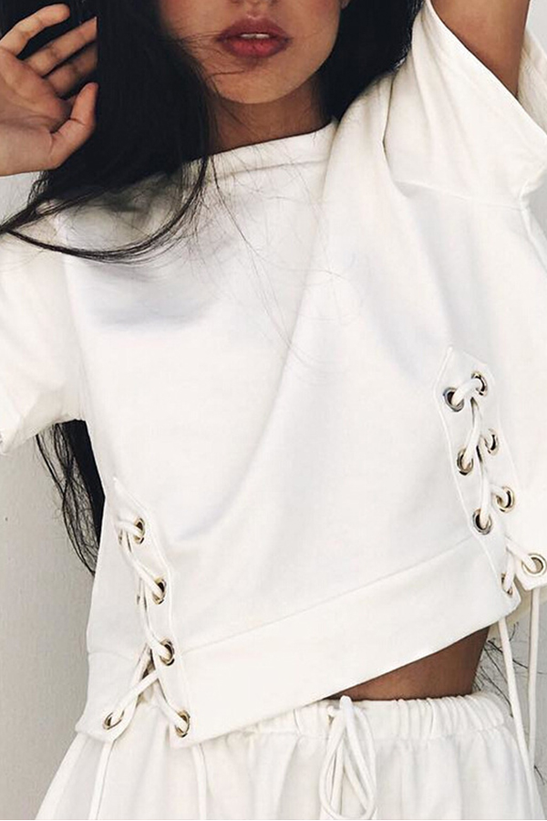 Lovely Casual O Neck Lace-up White Blouse
