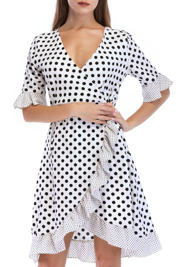 Lovely Sweet V Neck Dot Printed Ruffle Asymmetrical White Mini Dress