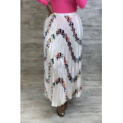Lovely Stylish Letter Printed White Chiffon Ankle