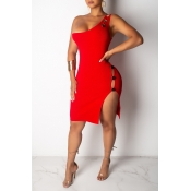 Lovely Sexy One Shoulder Hollow-out Red Knee Length Dress