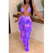 Lovely Print Ruffle Design Purple Two-piece Swimsu