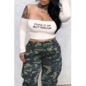 Lovely Casual Off The Shoulder Letter Printed Whit