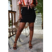 Lovely Casual Black Cotton Mini A Line Skirt