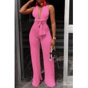 Lovely Sexy Deep V Neck Lace-up Light Pink One-piece Jumpsuit