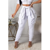Lovely Stylish High Waist Lace-up White Jeans