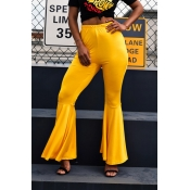 Lovely Stylish High Waist Yellow Horn-type Pants