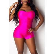 Lovely Sexy Off The Shoulder Drape Design Rose Red One-piece Romper