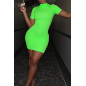Lovely Casual Turtleneck Short Sleeve Green Mini D