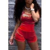 Lovely Casual Rhinestone Decoration Red Two-piece Shorts Set