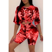 Lovely Casual O Neck Printed Jacinth Two-piece Shorts Set
