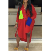 Lovely Casual Turndown Collar Patchwork Asymmetrical Red Dress