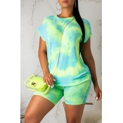 Lovely Casual O Neck Tie-dye Light Green Two-piece Shorts Set