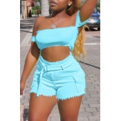 Lovely Casual Off The Shoulder BabyblueTwo-piece S