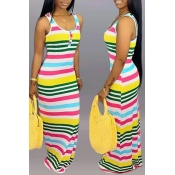 Lovely Casual U Neck Striped Printed Multicolor Fl
