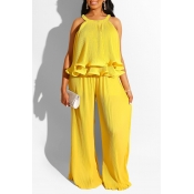 Lovely Sweet O Neck Ruffle Design Yellow Two-piece Pants Set