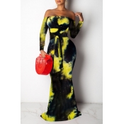 Lovely Casual Off The Shoulder Tie-dye Yellow Floo