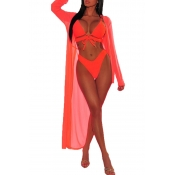 Lovely Lace-up Hollow-out Jacinth Two-piece Swimwe