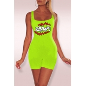 Lovely Casual Letter Printed Green One-piece Rompe