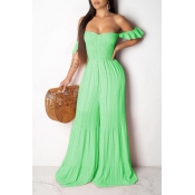 Lovely Sweet Off The Shoulder Green One-piece Jump