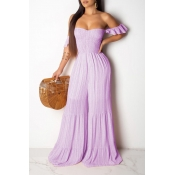 Lovely Sweet Off The Shoulder Purple One-piece Jumpsuit