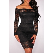 Lovely Stylish Off The Shoulder Lace Patchwork Bla