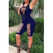 Lovely Sexy Hollow-out Royal Blue One-piece Romper