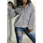 Lovely Chic Hooded Collar Zipper Design Grey Velve